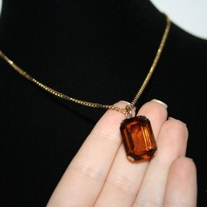Beautiful vintage gold and smokey topaz necklace